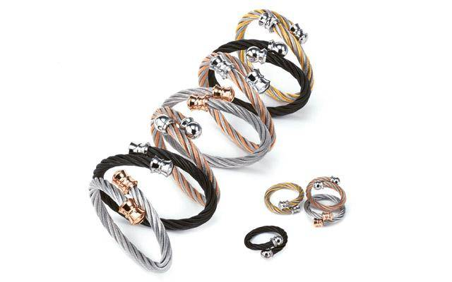 stainless amp fashion women clasp product twisted glow steel bangle silver rose lakh cable gold open jewelry bangles bracelet