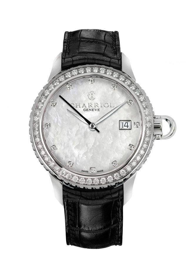 CHARRIOL-Lady-COLVMBVS-Dial-MOP-Diamond-Bezel-Leather-strap