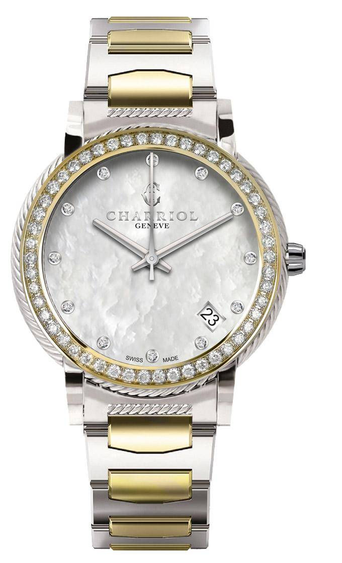CHARRIOL-Watch-Lady-PARISII-33mm-Diamonds-Steel-&-Yellow-Gold-White-MOP