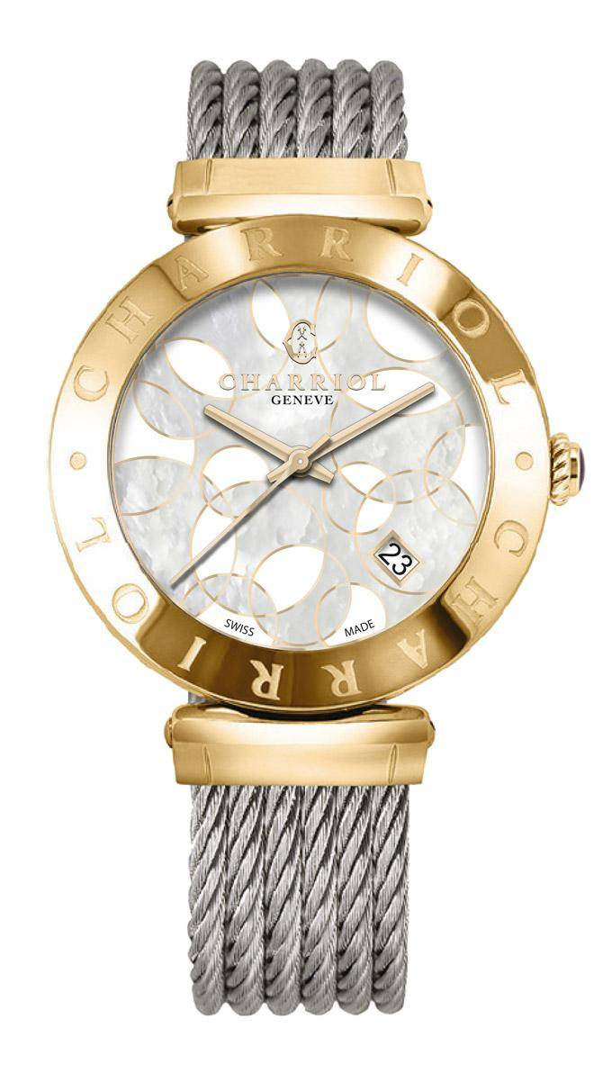 CHARRIOL-Watch-Lady-ALEXANDRE-C-Yellow-Gold-Circles-MOP